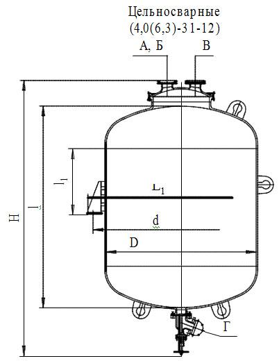 Сборники эмалированные с эллиптической крышкой без рубашки V=4,0 -6,3 м3