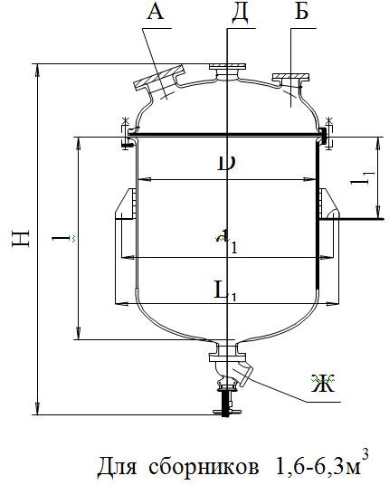 Сборники эмалированные с эллиптической крышкой без рубашки V=0,4 - 6,3 м3