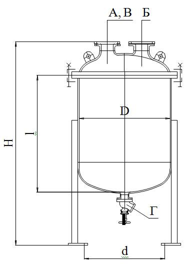 Сборники эмалированные с сферической крышкой без рубашки V=0,063 - 0,25 м3