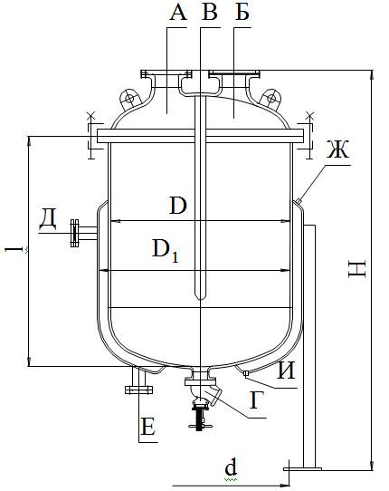 Сборники эмалированные сферической крышкой с рубашкой V=0,063 - 0,25 м3