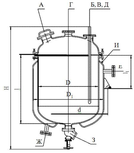 Сборники эмалированные сферической крышкой с рубашкой V=0,4 - 0,63 м3